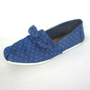 Toms Polka Dot Bow Flats Blue White 10 Womens